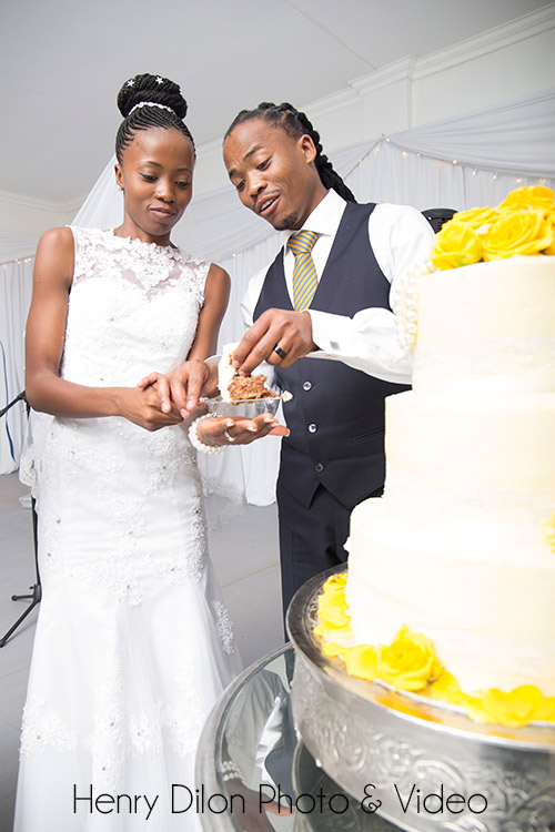 Cutting the cake at a wedding
